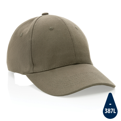 Picture of IMPACT 6 PANEL 280GR RECYCLED COTTON CAP with Aware™ Tracer in Green