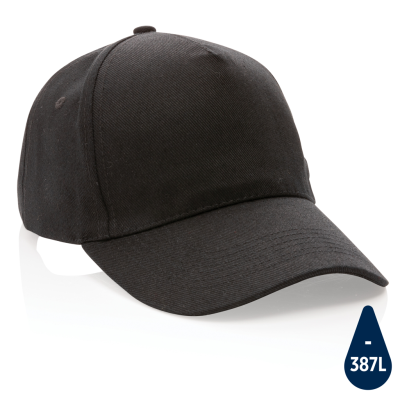 Picture of IMPACT 5 PANEL 280GR RECYCLED COTTON CAP with Aware™ Tracer in Black