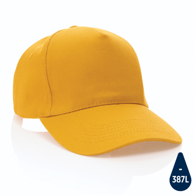 Picture of IMPACT 5 PANEL 280GR RECYCLED COTTON CAP with Aware™ Tracer in Yellow