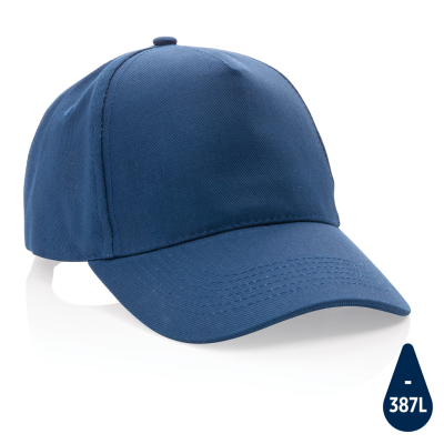 Picture of IMPACT 5 PANEL 280GR RECYCLED COTTON CAP with Aware™ Tracer in Navy