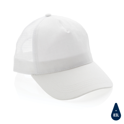 Picture of IMPACT AWARE™ BRUSHED RCOTTON 5 PANEL TRUCKER CAP 190G in White