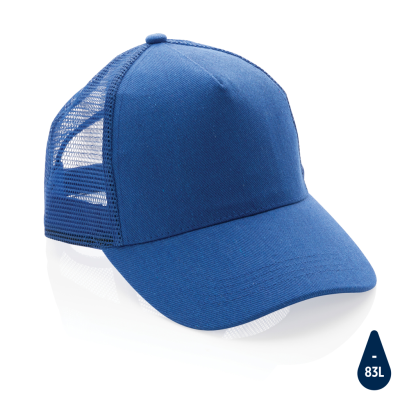 Picture of IMPACT AWARE™ BRUSHED RCOTTON 5 PANEL TRUCKER CAP 190G in Blue