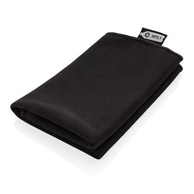 Picture of RPET SPORTS TOWEL in Pouch in Black