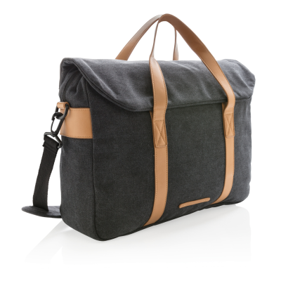 Picture of CANVAS LAPTOP BAG PVC FREE in Black