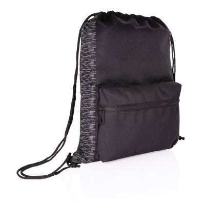 Picture of AWARE™ RPET REFLECTIVE DRAWSTRING BACKPACK RUCKSACK in Black