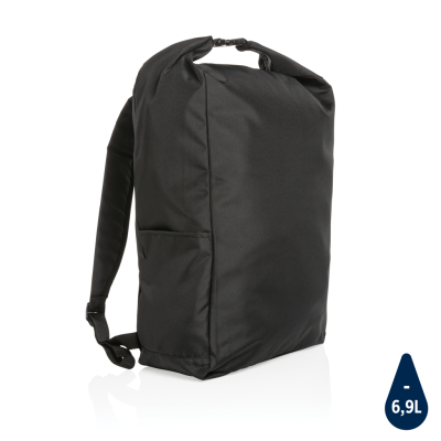Picture of IMPACT AWARE™ RPET LIGHTWEIGHT ROLLTOP BACKPACK RUCKSACK in Black