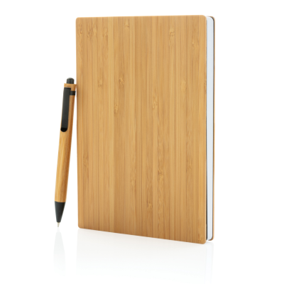 Picture of A5 BAMBOO NOTE BOOK & PEN SET in Brown