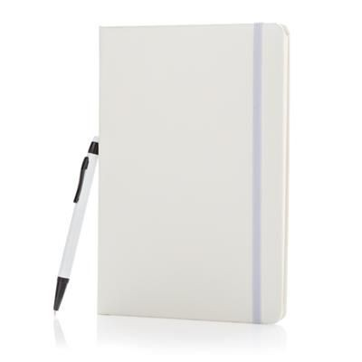 Picture of STANDARD HARDCOVER A5 NOTE BOOK with Stylus Pen in White