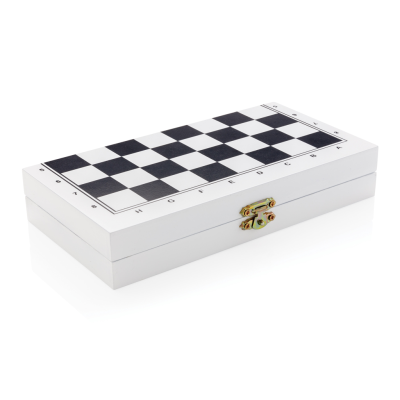 Picture of DELUXE 3-IN-1 BOARD GAME in Wood Box in White