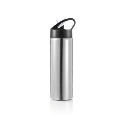Picture of SPORTS SINGLE WALL STAINLESS STEEL METAL DRINKS BOTTLE with Straw