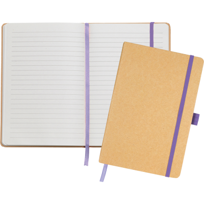 Picture of ECO-NATURAL BROADSTAIRS A5 KRAFT PAPER NOTE BOOK in Natural & Purple