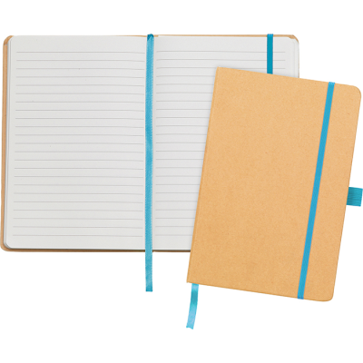 Picture of BROADSTAIRS A5 KRAFT PAPER NOTE BOOK in Natural & Cyan