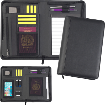 Picture of ROMNEY OVERSIZE A5 ZIP TABLETFOLIO in Black