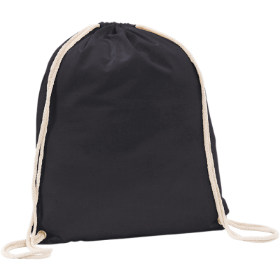 Picture of WESTBROOK 5OZ COTTON DRAWSTRING BACKPACK RUCKSACK BAG in Black