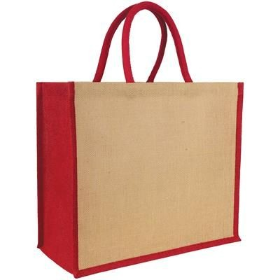 Picture of ECO-NATURAL YALDING JUTE TOTE in Red-natural