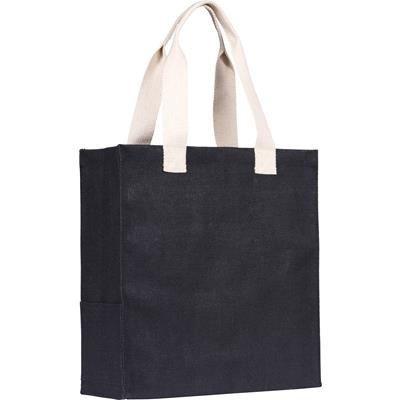 Picture of DARGATE JUTE SHOPPER TOTE BAG in Black