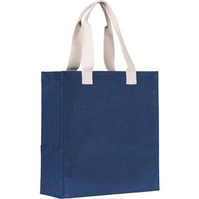 Picture of DARGATE JUTE SHOPPER TOTE BAG in Navy Blue