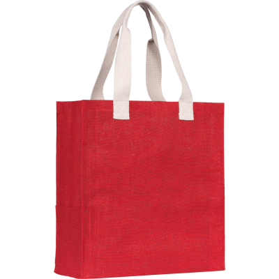 Picture of DARGATE JUTE SHOPPER TOTE BAG in Red