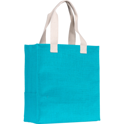 Picture of DARGATE JUTE SHOPPER TOTE BAG in Turquoise Large, Eco Friendly, Eco Tote Bag Made From 14x15 Natural