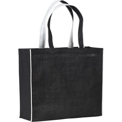 Picture of DAVINGTON JUTE TOTE BAG in Black & White