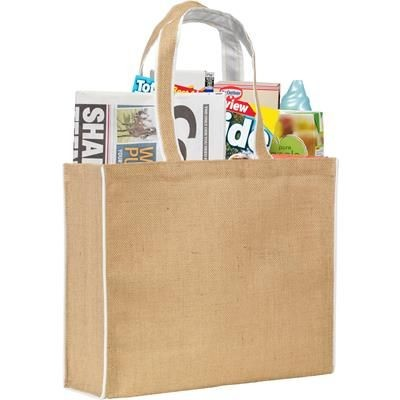 Picture of DAVINGTON JUTE TOTE BAG in Natural & White