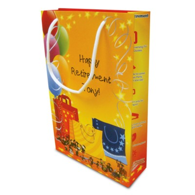 Picture of LUXURY PAPER CARRIER BAG - SMALL - MATT 195GSM ARTBOARD with Matt Laminate, Short Pp Rope Handles