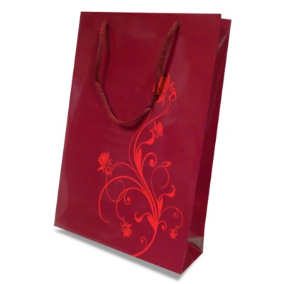 Picture of LUXURY PAPER CARRIER BAG - SMALL - GLOSS 195GSM ARTBOARD with Gloss Laminate, Short Pp Rope Handles