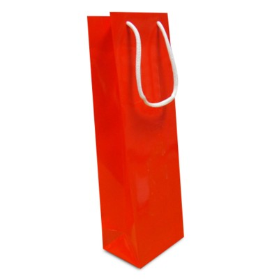 Picture of LUXURY PAPER CARRIER BAG - BOTTLE BAG - GLOSS 195GSM ARTBOARD with Gloss Laminate, Short Pp Rope Han