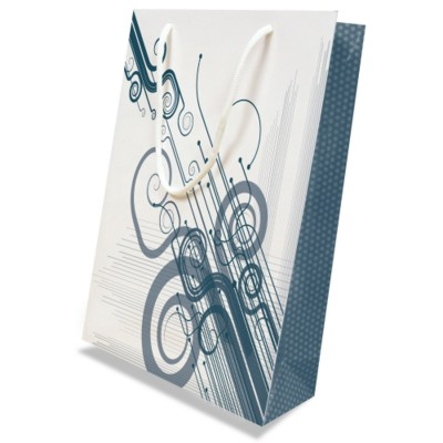 Picture of LUXURY PAPER CARRIER BAG - MEDIUM - GLOSS 195GSM ARTBOARD with Gloss Laminate, Short Pp Rope Handles