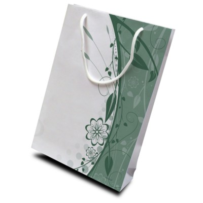 Picture of LUXURY WHITE KRAFT PAPER CARRIER BAG - X-SMALL 130GSM KRAFT PAPER with Short Pp Rope Handles