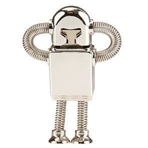 ROBOT METAL USB FLASH DRIVE MEMORY STICK NOVELTY ROBOT SHAPE BODY with Spring Arms & Legs in Polishe